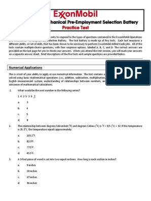 ExxonMobil Operations and Mechanical Practice Test PDF | Nature