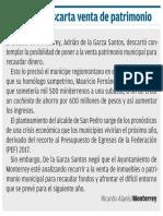 16-11-16 Monterrey descarta venta de patrimonio