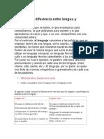 Cuál Es La Diferencia Entre Lengua y Lenguaje