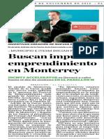 18-11-16 Buscan impulsar emprendimiento en Monterrey