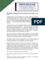 Press Release - Philippine Business Forum in Edinburgh on Renewable Energy 2010