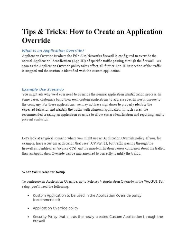 Application Override | Port (Computer Networking) | Firewall