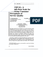 1988 - SERVQUAL- A Multiple-Item Scale for Measuring Consumer Perceptions of Service Quality