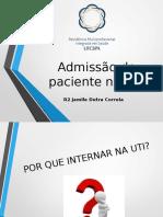 Admissão Do Paciente Na UTI