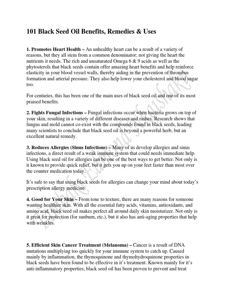 Top Five 101 Benefits Black Seed Oil - Circus