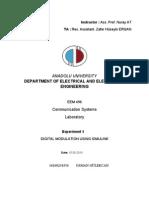 EEM496 Communication Systems Laboratory - Report5 - Digital Modulation Using Simulink