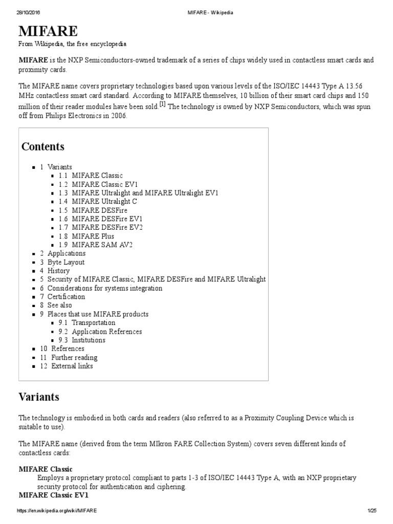 MIFARE - Wikipedia | Computer Access Control | Financial Technology