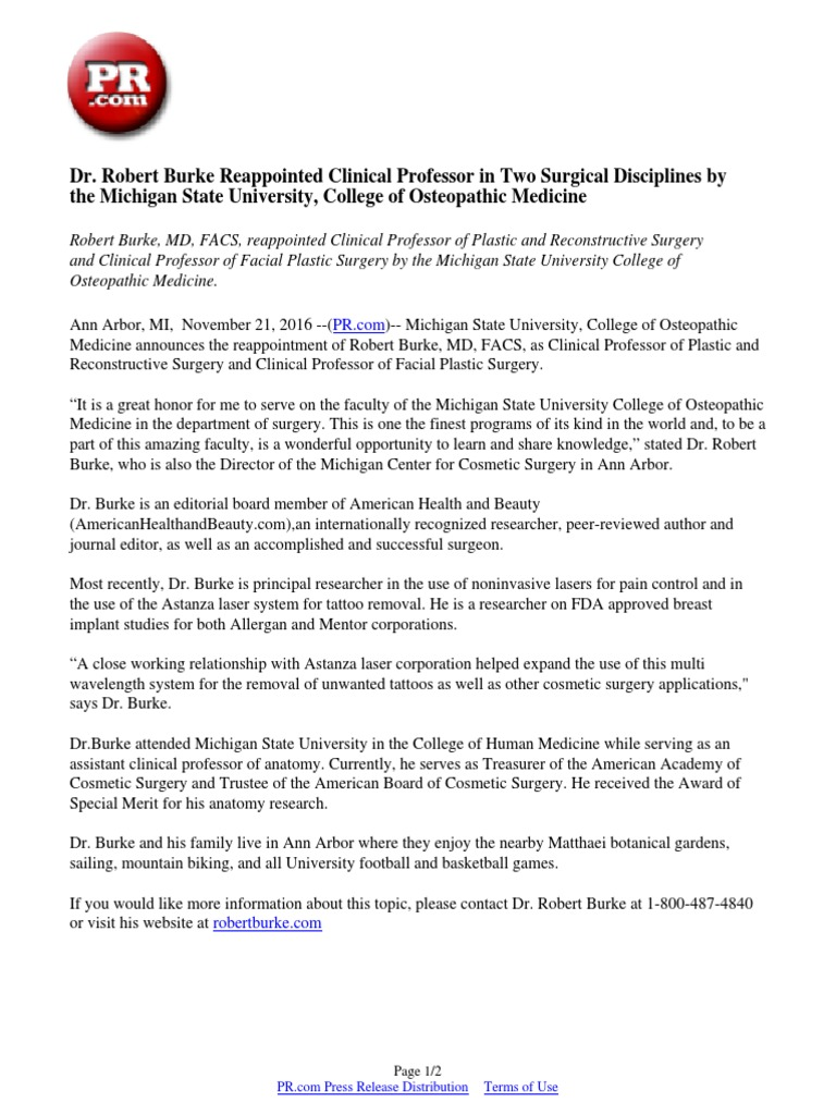 Dr. Robert Burke Reappointed Clinical Professor in Two Surgical ...