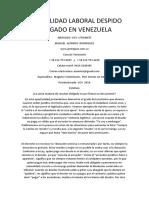 Inmovilidad Laboral Despido Abogado en Venezuela