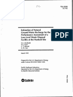 Estimation of Natural Ground Water Recharge for the Performance Assessment of a Low-Level Waste Disposal Facility at the Hanford Site