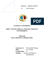 EEM328 Electronics Laboratory - Report6 - FET and FET Biasing