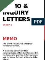 Memo & Inquiry Letters