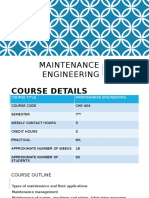 Maintenance Engineering Lec 01