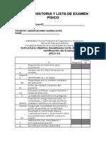 Historia clinica y Lista de Examen Físico