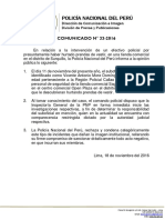 COMUNICADO PNP N° 33 - 2016
