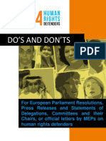 Do's and Don'ts best practice guide for  European Parliament resolutions, press releases and statements of Delegations, Committees and their Chairs, or official letters by MEPs on Human Rights Defenders