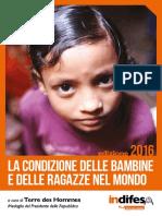 """Dossier Indifesa """"La condizione delle bambine e le ragazze nel mondo"""" di Terre des Hommes"""