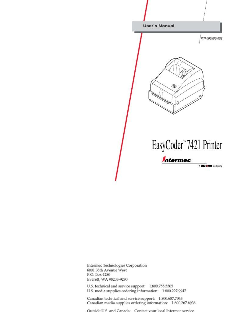 Intermec EasyCoder 7421 User's Manual.pdf | Printer (Computing) | Computer  Network