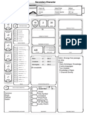 Character Sheet Azure 4th Level Pirate Cleric | Magic