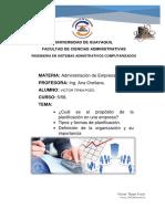 Proposito de La Planificacion y Organizacion