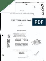 The Tolerance Dose