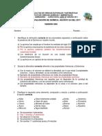 2011 - Nivel Cero Verano QUIMICA B VERSION 1 Segundo Examen