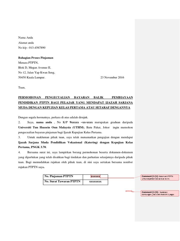 Contoh Surat Permohonan Pengecualian Ptptn 2016