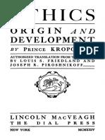 Kropotkin - Ethics Origin and Development