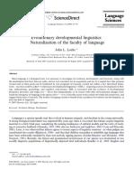 Evolutionary Developmental Linguistics