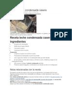 Receta Leche Condensada Casera