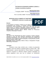 ELEMENTOS METODOLÓGICOS DA GEOGRAFIA AGRÁRIA CLÁSSICA a Produção Em Periódicos Brasileiros Flamarion Dutra Alves Enéas Rente Ferreira