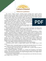 Cultura Oriental Publication Guidelines