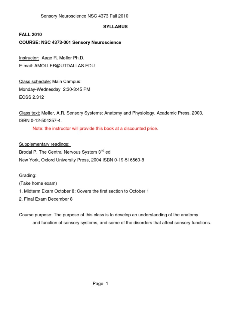 UT Dallas Syllabus for nsc4373.001.10f taught by Aage Moller ...