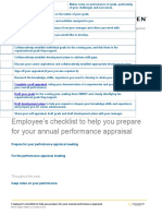 Employee Checklist for Performance Appraisals