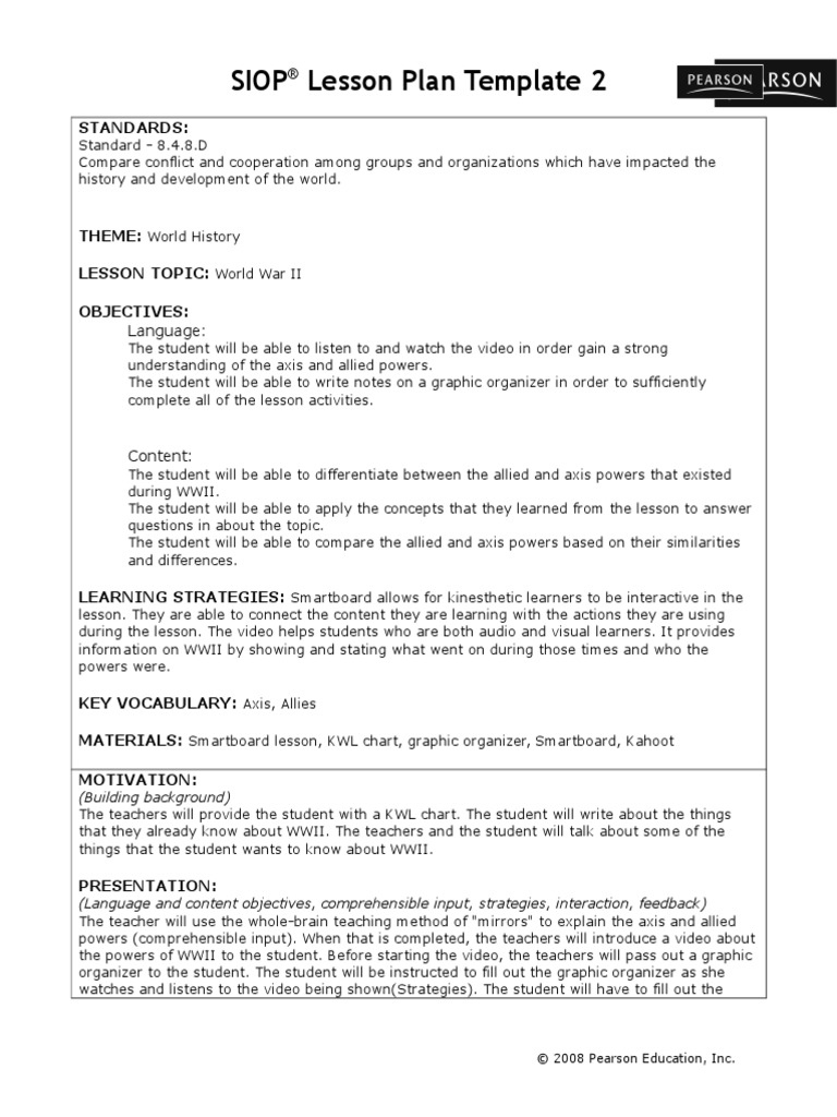 Siop Wwii Lesson Lesson Plan Epistemology - Siop lesson plan template 2