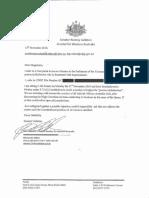 Senator Rodney Culleton letter