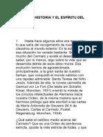 Sobre La Historia y El Espiritu Del Carmelo