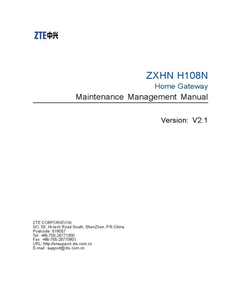 manual setup ZXHN H108N V 25 pdf