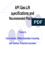 API and ISO Gas-Lift Recommended Practices