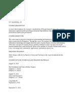 Public Finance Course Outline