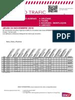Info Trafic Intercités du 24 novembre 2016