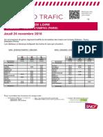 Info Trafic Orléans-Toury-Etampes (Paris) du 24 novembre 2016