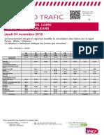 Info Trafic Tours-Orléans du 24 novembre 2016