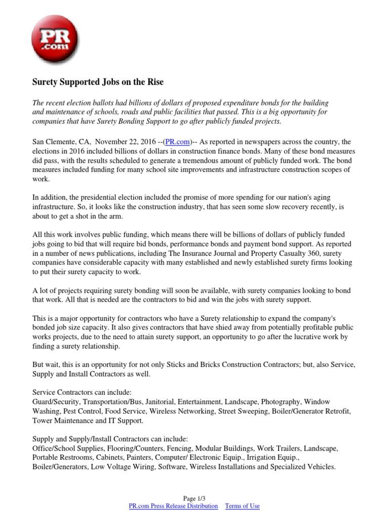 Surety Supported Jobs on the Rise | Surety Bond | Bonds (Finance)