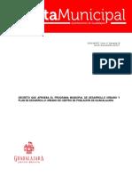 Decreto que aprueba el Programa Municipal de Desarrollo Urbano y Plan de Desarrollo Urbano de Centro de Población de Guadalajara