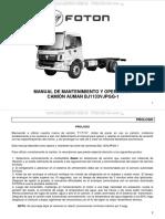 Manual Camion Bj1133vjpgg 1 Foton Operacion Mantenimiento Instrumentos Conduccion Mantenimiento