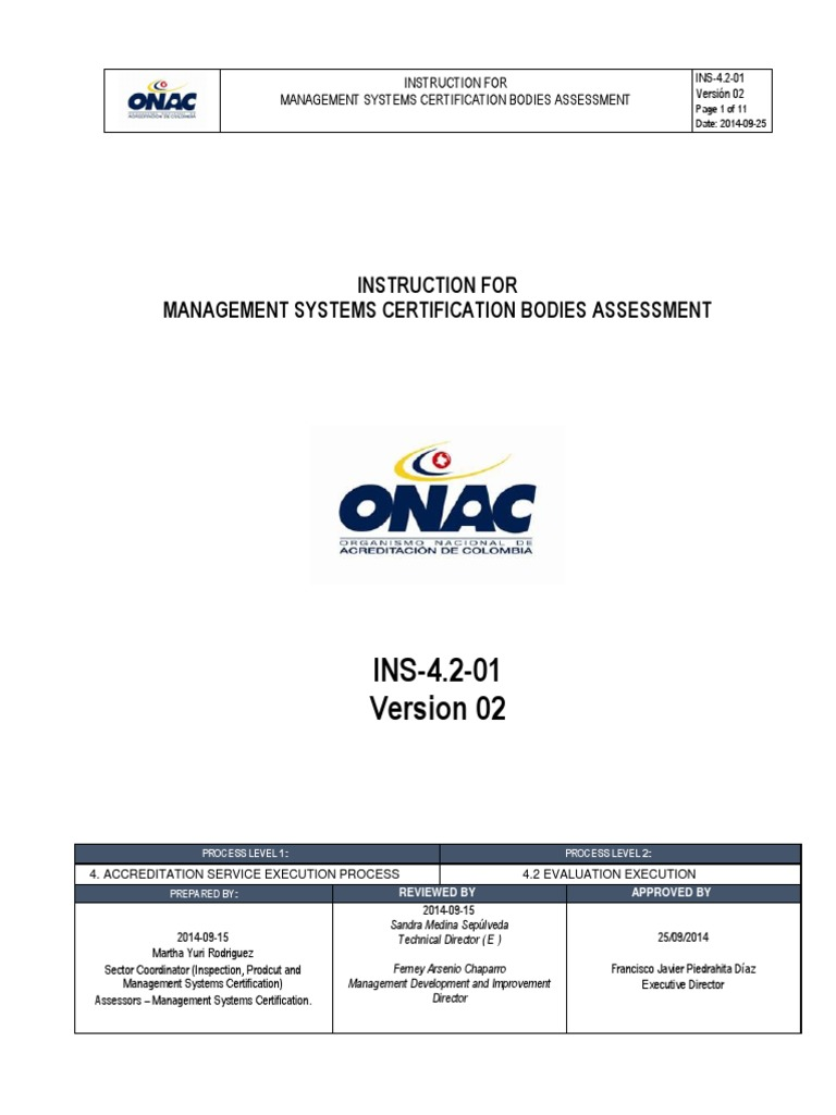 Ins 4 2 01 Instruction For Management Systems Certification Bodies