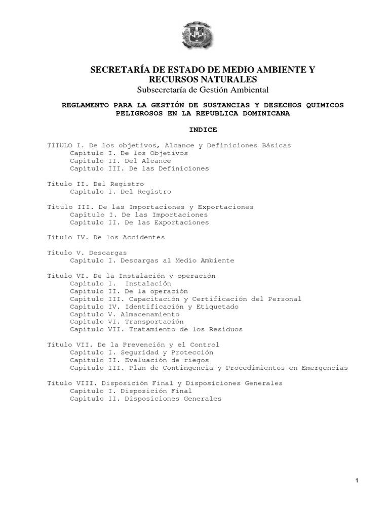 Reglamento Para La Gestion de Sustancias y Desechos Quimicos ...