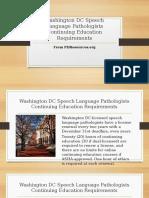 Washington DC Speech Language Pathologists Continuing Education Requirements