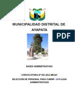 Bases Convocaroria Plazas en Administracion Ayapata 2011